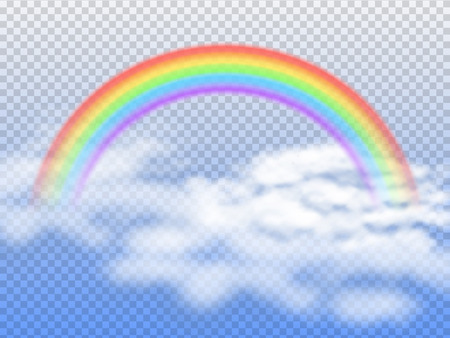 Rainbow arc with white clouds in blue sky 3d vector illustration. Vectores