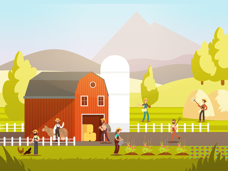 Cartoon farm with farmers, farm animals and equipment vector illustration