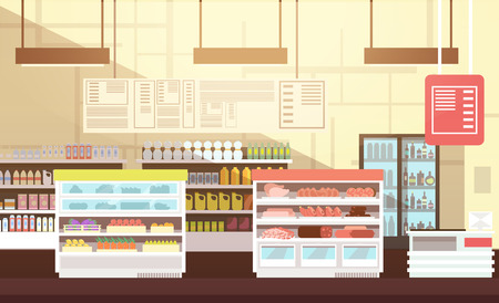 Modern super market empty interior flat vector illustration Çizim