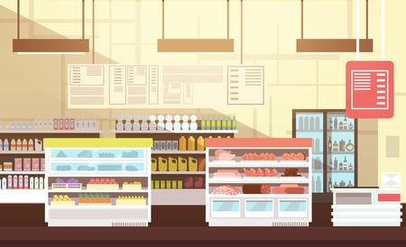 Modern super market empty interior flat vector illustration Illustration
