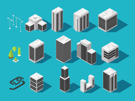Isometric city 3d building and houses with urban elements vector set