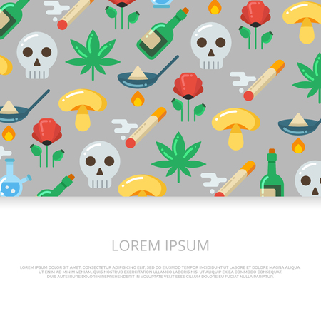 Bright drugs and skull flat icons banner or background design. Vector illustration