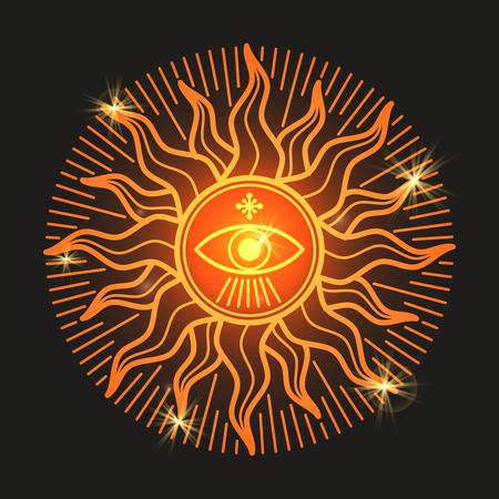 Esoteric mystery shiny sun sign on black background. Vector illustration Illustration