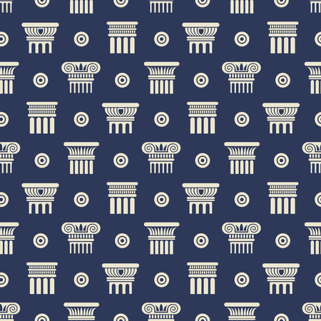Greek and roman ancient columns seamless pattern background. Vector illustration