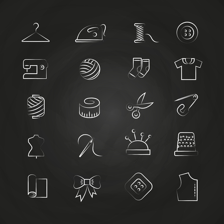 Hand drawn white linear fabric, sewing, tailor, knitting icons on chalkboard. Vector illustration