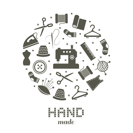 Handmade round concept with sewing and knitting icons. Vector illustration Illustration