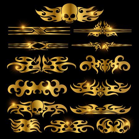 Golden racing car decoration