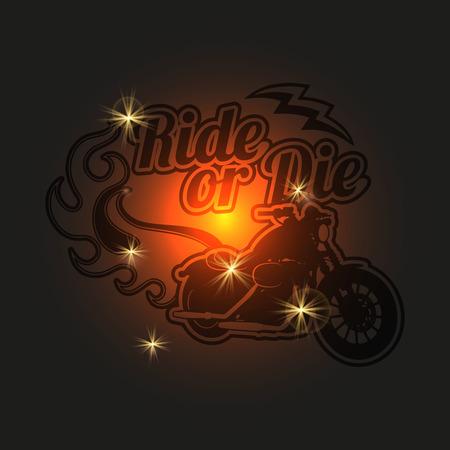 Vintage motorcycle label. Motorbike shiny background