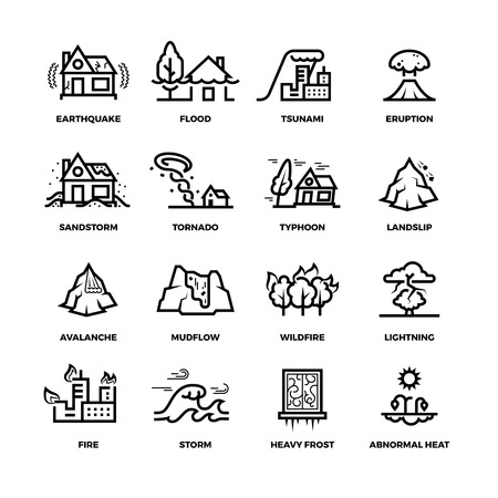 Natural disaster accidents line vector icons and damage symbols. Hurricane and storm, fire and tsunami, flood and earthquake illustration Vettoriali
