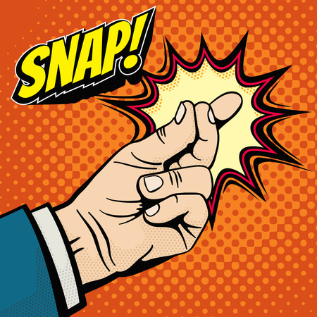 Male hand with snapping finger magic gesture. Its easy vector concept in pop art style. Finger snap gesture, snapping click gesturing expression, vector illustration Vettoriali