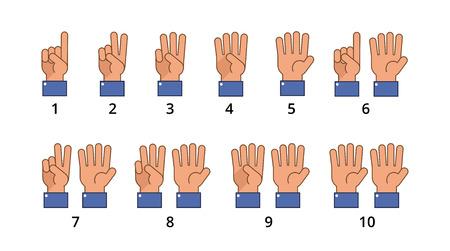Contando mano. Gestos de cuenta regresiva, signos planos de número de idioma aislados. Dedo de mano de cuenta regresiva, gesto numérico de ilustración vectorial set