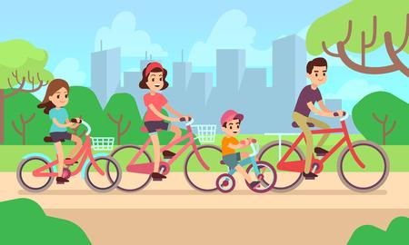 Bambini felici e genitori in sella a biciclette. Concetto di famiglia attiva Vettoriali
