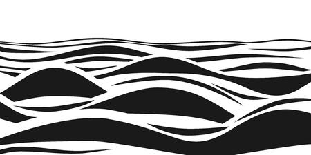 抽象的な黒と白の縞模様の3D波。ベクトル錯視。海の波のアートパターン。波動効果嵐背景 モノクロイラスト