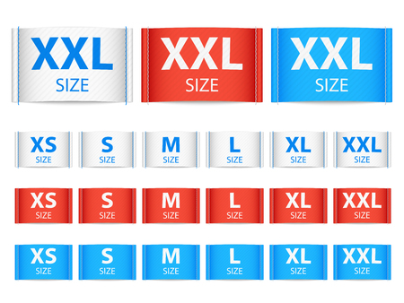 Fabric ribbon tags, clothing label with size vector collection Illustration