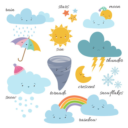 Iconos del tiempo de dibujos animados lindo. Pronóstico meteorología símbolos de vocabulario de vectores. Ilustración de sol y nube, lluvia y copo de nieve