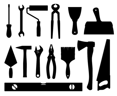 Construction tools vector black silhouettes isolated on white background