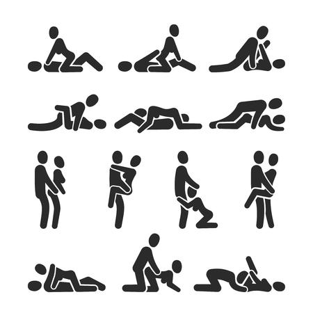 Icone di vettore di posizione sessuale. Posizionamento sessuale tra pittogrammi di coppia uomo e donna. La posizione delle coppie sexy ama l'uomo e la donna, illustrazione del partner sessuale