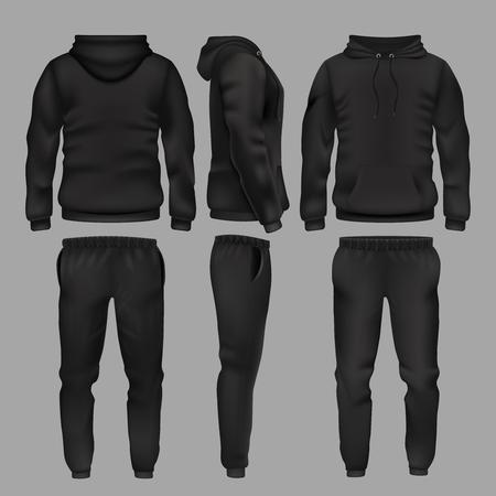 Hombre negro ropa deportiva con capucha y pantalones vector maqueta aislado