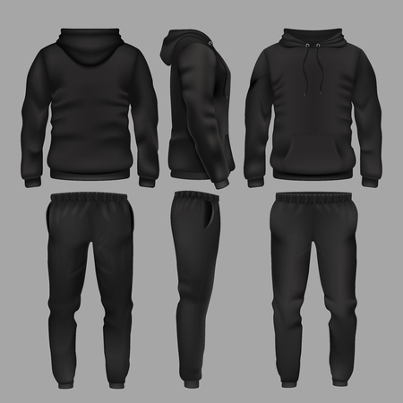 Black man sportswear hoodie and trousers vector mockup isolated
