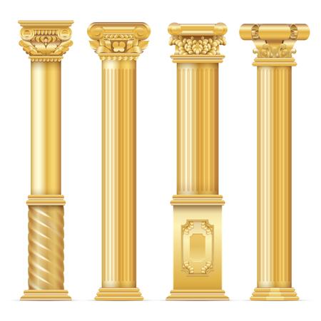 Classic antique gold columns vector set