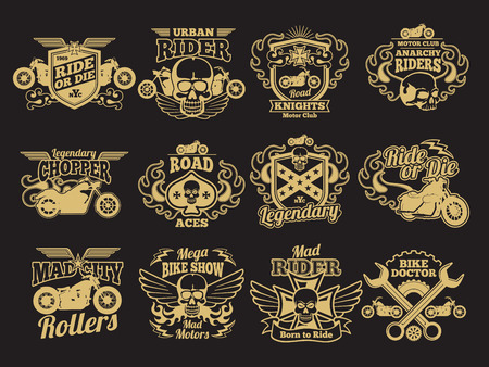 Motorbike club vintage vector patches on black. Motorcycle racing labels and emblems. Illustration
