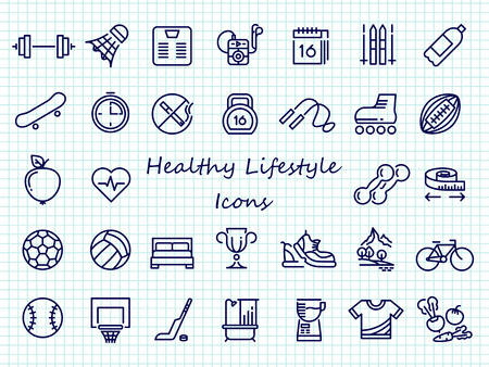 Healthy lifestyle outline icons - big set sport icons. Healthy diet and fitness training, vector illustration