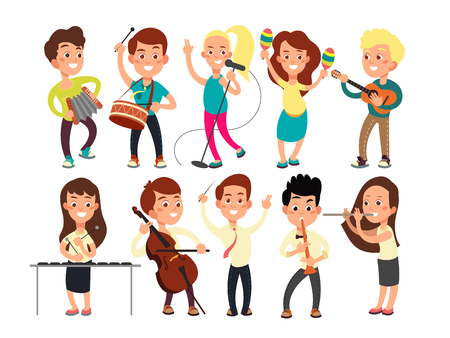 Schoolkids playing music on stage. Children musicians performing music show. Stock Illustratie