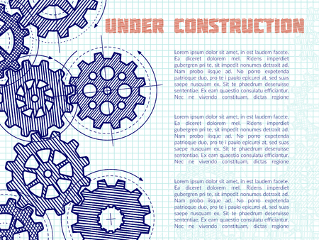 Under construction vector background with hand drawn gears on notebook page.