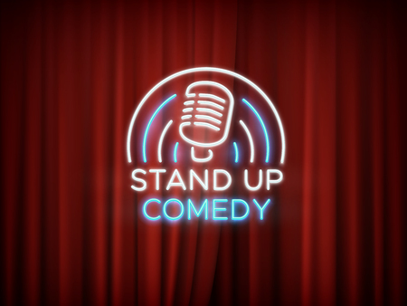 Stand up comedy neon sign with microphone and red curtain vector background. 일러스트