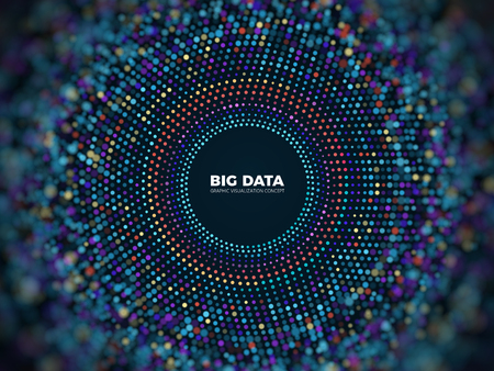 Big data information vector concept. Abstract futuristic background with 3d visualization.
