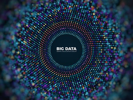 Concepto de vector de información de datos grandes. Fondo futurista abstracto con visualización en 3d.