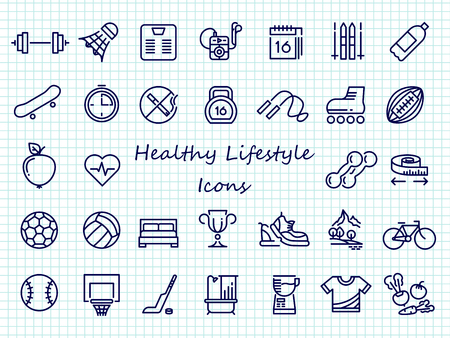 Healthy lifestyle outline icons - big set sport icons. Stock Illustratie