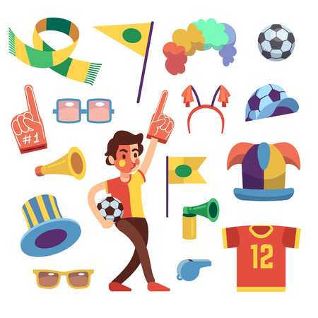 Soccer sports fans with tools to cheer team cartoon vector set. Иллюстрация