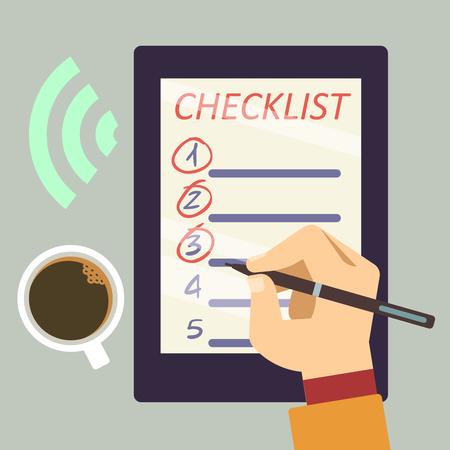 E-Kugeljournal mit Checkliste - organisieren Sie flaches Konzept des E-Buches. Vektor-illustration