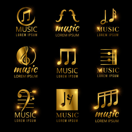 Shiny golden music vector logos set Stok Fotoğraf - 95740195