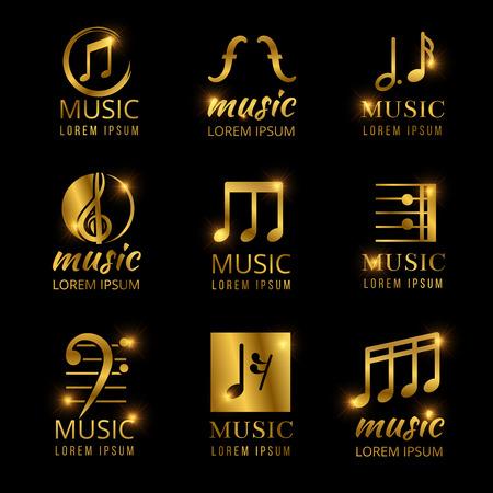 Shiny golden music vector logos set