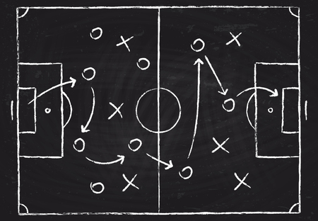 Soccer game tactical scheme with football players and strategy arrows. Vector chalk graphic on black board Illustration