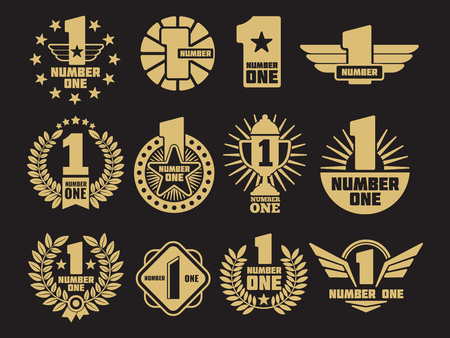 Golden number one retro identity icon and labels