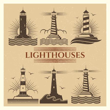 Vintage lighthouses logos vector set Illustration
