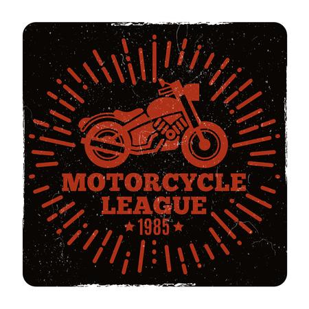 Vintage grunge motorcycle league emblem design