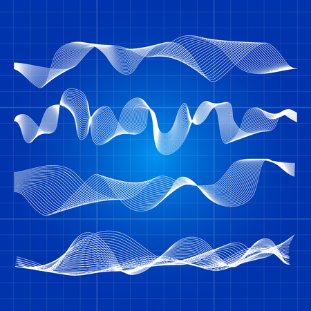 White abstract waves from lines design Vectores