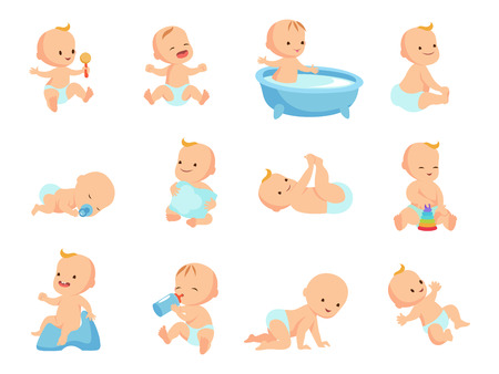 Infant newborn baby big set in different activity isolated on white Vectores