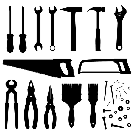 Hand industrial and building tools vector silhouettes. Handyman toolkit Çizim