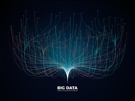 Concept de visualisation de réseau de données volumineuses. Industrie de la musique numérique, fond de vecteur de science abstraite