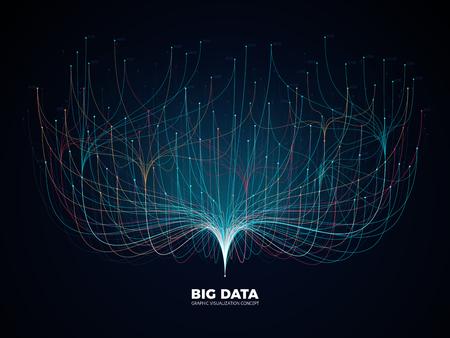 Concepto de visualización de red de datos grandes. Industria de la música digital, fondo de vector de ciencia abstracta