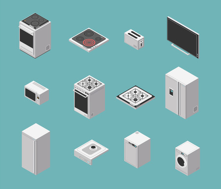 Domestic and kitchen appliances isometric vector icons set