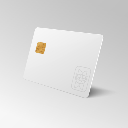 White blank shopping credit card isolated 3d vector illustration