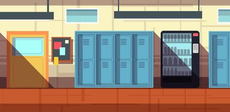 school corridor interior cartoon vector illustration