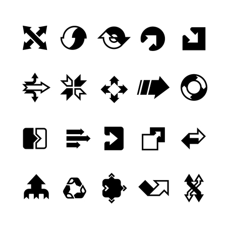 Complex business transition, transform arrows and paths vector icons Vettoriali