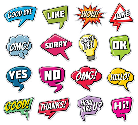 Chatting phrases. Funny comic words in speech clouds vector set